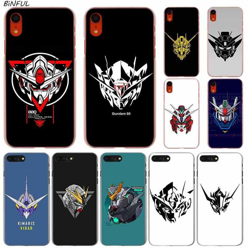 Gundam head Hot Fashion Transparent Hard Phone Cover Case for iPhone X XS Max XR 8 7 6 6s Plus 5 SE 5C 4 4S