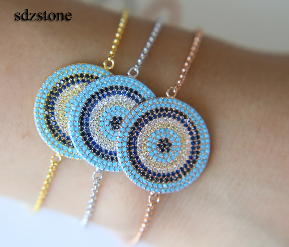 2018 adjust box chain 10 raw CZ turquoises Gem TOP QUALITY Gold filled women girl lucky round disco colorful bracelet