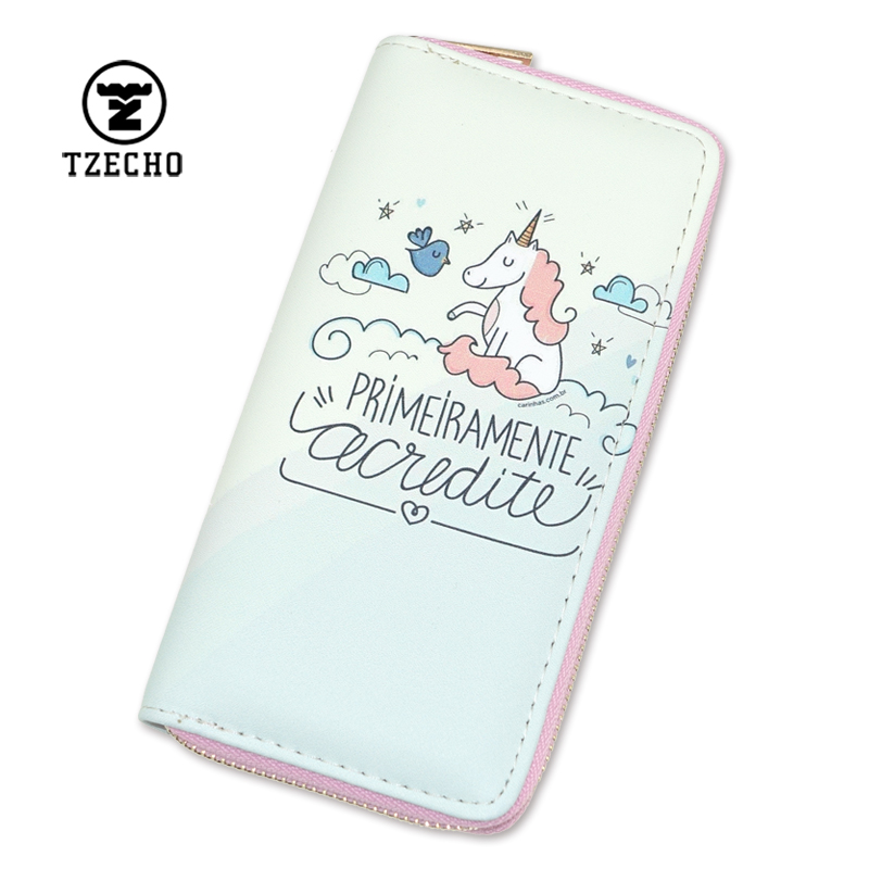 TZECHO Womens Wallets Credit Card PU Leather Cartoon Unicorn Ladies Clutch Zipper Coins Purses Long Rfid Cards Holder for Gift