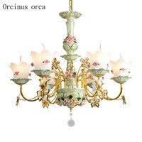 Flor de luxo europeu lustre cerâmica sala estar quarto sonho idílico francês led lustre frete grátis