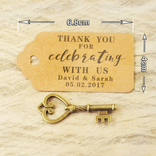 Personalized Favor tags Wedding Tags Antique Key Gift Tags Escort Card Vintage Keys Set of 50 to 100 pieces 2