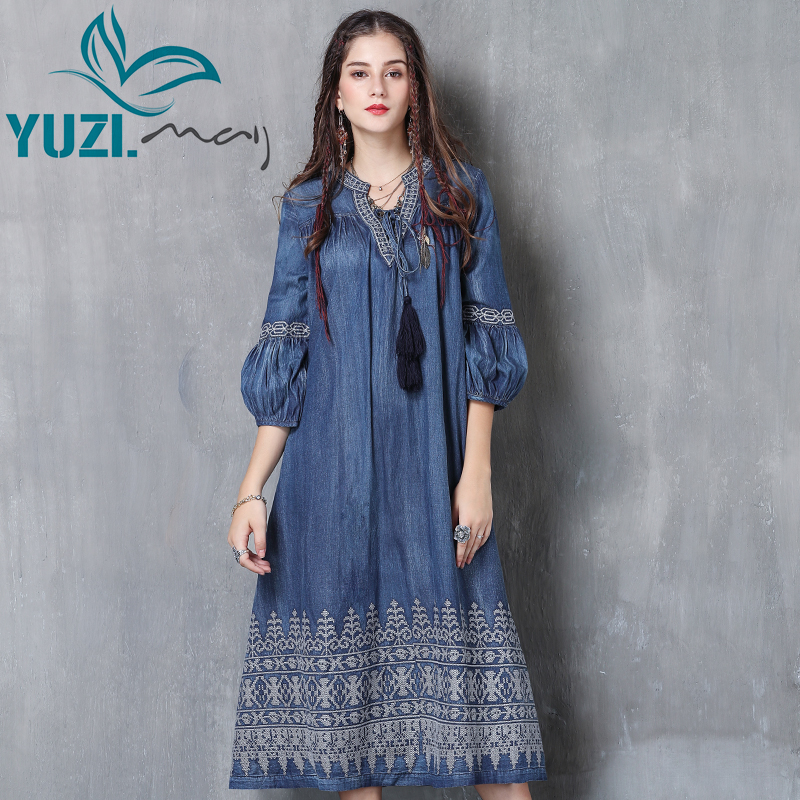 Women Dress 2017 Yuzi may Boho New Denim Vestidos V Neck Three Quarter Lantern Sleeve Flower