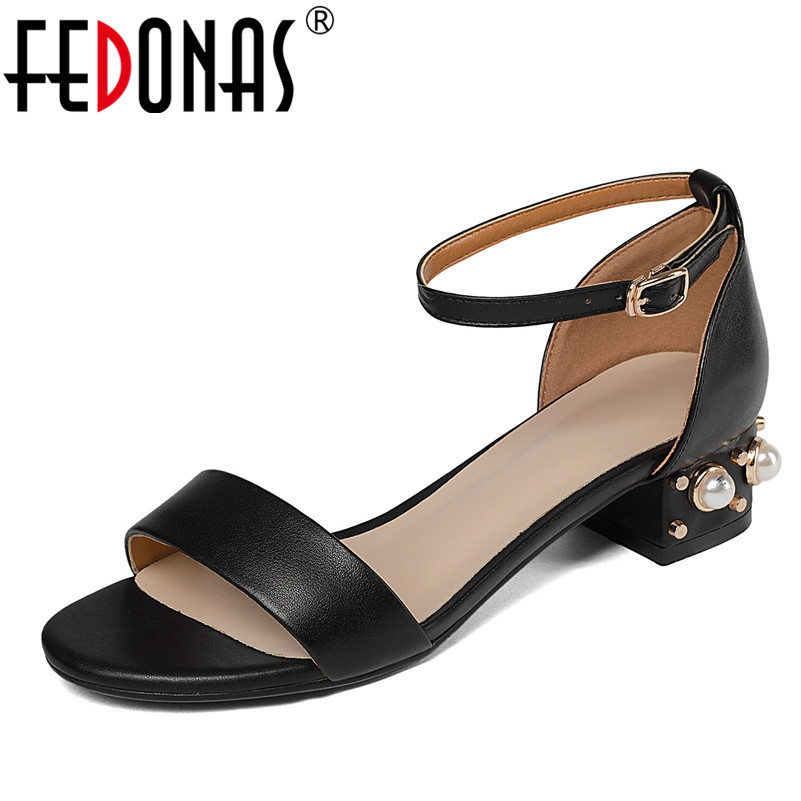 FEDONAS Women Sandals Shoes Woman Genuine Leather Low Heel Summer Beading Wedding Party Shoes Ladies Gladiator Sandals new women sandals low heel wedges summer casual single shoes woman sandal fashion soft sandals free shipping
