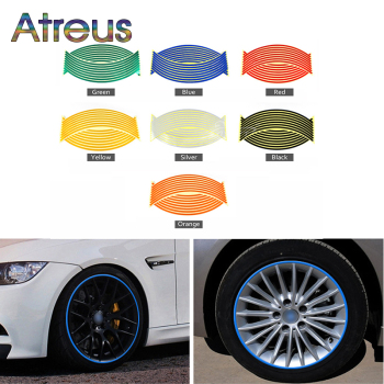 Atreus 1set Car Wheel Reflective Rim Tape Stickers For Toyota Corolla RAV4 Subaru XV Chevrolet Cruze Aveo sail Saab Dacia Duster image