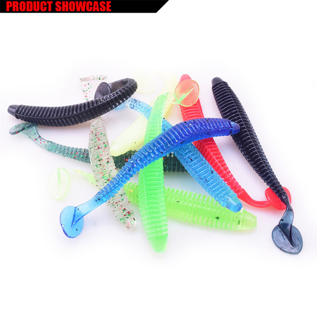1pcs soft bait Worm Grubs T Tail Wobblers Fishing Lure 95mm 3g Aritificial Silicone salt Smell Bass Pike Fishing Jigging Bait