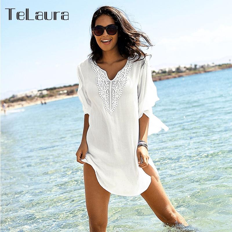 Swimsuit Cover-Up Beach-Dress White Summer Bikini Women New V-Neck Loose