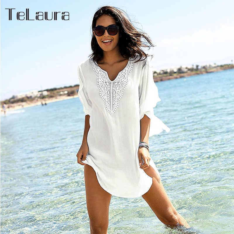 2019 Baru Pantai Seksi Menutupi Baju Renang Putih V Leher Longgar Gaun Pantai Wanita Bikini Pakaian Renang Baju Renang Musim Panas Pantai memakai