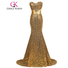 Grace Karin Mermaid Evening Dress Elegant Strapless Sequined Evening Gowns Golden Silver Long Special Occasion Formal Dress 2017