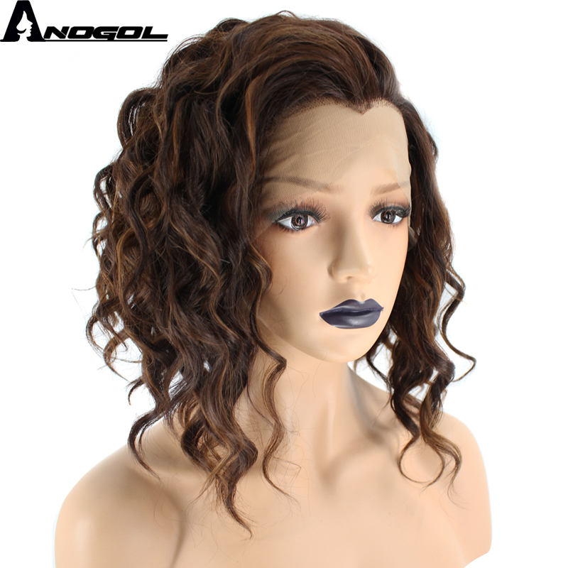 Anogol Widow Peak High Temperature Fiber Hair Free Part 2 Tones Mixed Brown Short Deep Wave