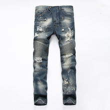 Brand Mens Biker Jeans Straight Cotton Ripped Moto Jeans Bal Brand Clothing Motorcycle Denim Pants