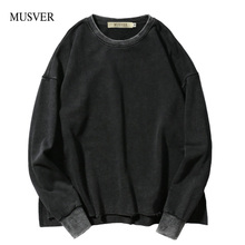 MUSVER Retro Casual Hoodies Men 2017 Winter High Street Oversizeed Severely Washed Cotton Men Black Hoodies And Sweatshirts