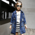 Spring Autumn Girls Trench Coat Children Coat Turn Down Collar Long Outwear Kids Jackets Double Breasted Denim Casual Fashion Ja