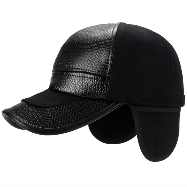 3cb82571ac48d HT1844 New Winter Hats Men Faux Leather Baseball Caps Male Warm Wool Blend Ear  Flap Baseball Hats Adjustable Elder Man Dad Hats