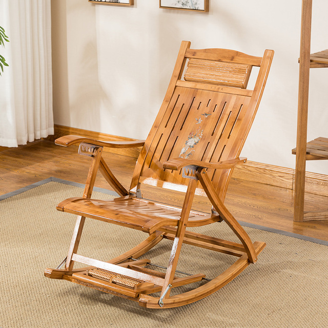 Folding Bamboo Chair Recliner Reclining Indoor Outdoor Foldable