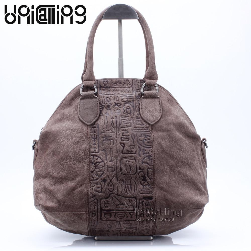 купить Fashion vintage dull polish real leather soft shell bag women ancient hieroglyphic embossing vintage handbag shoulder bag онлайн