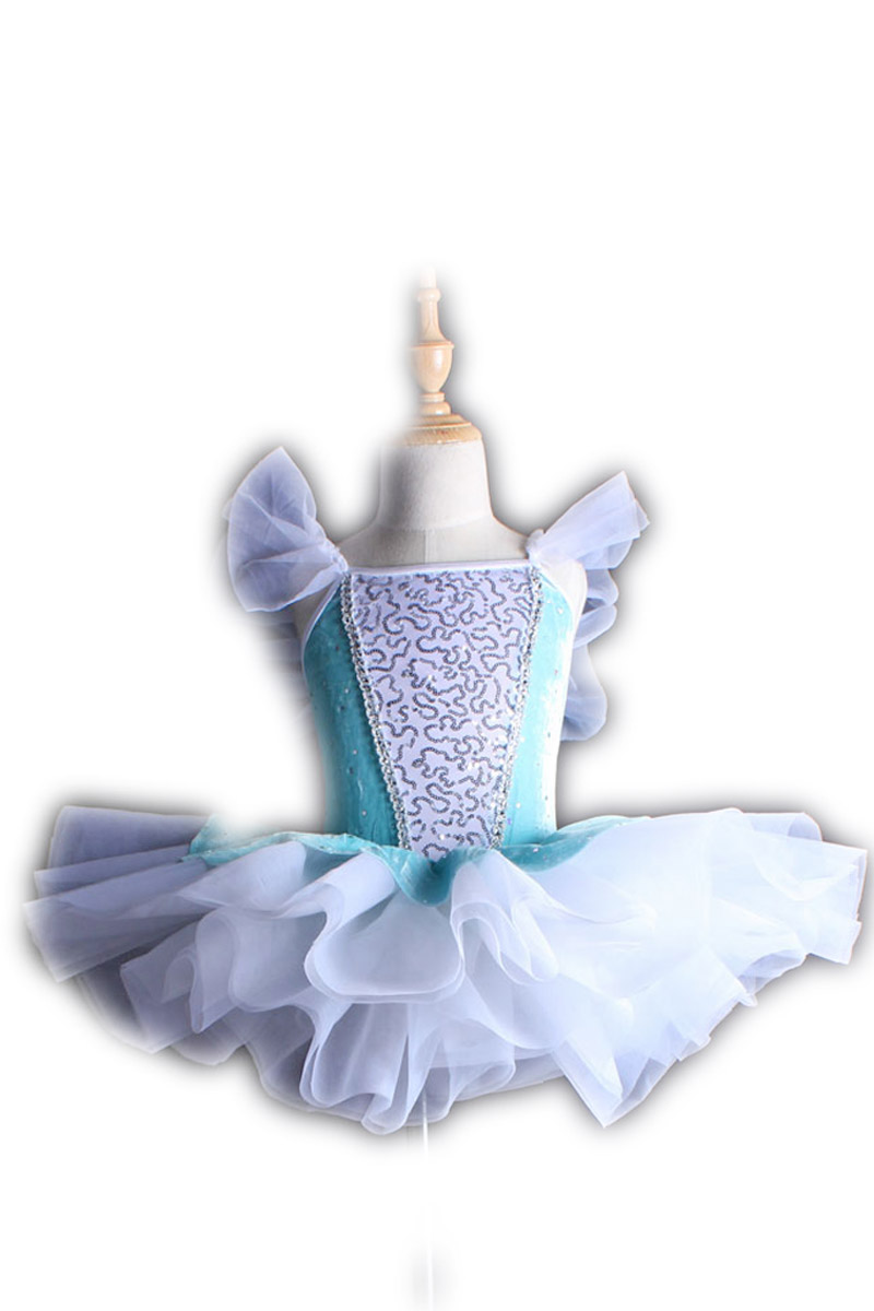 Kids Girls Sleeveless Sequins Tulle Ballet Dance Gymnastics Leotard Dress for Stage Performance Classical Size 2-12 Years