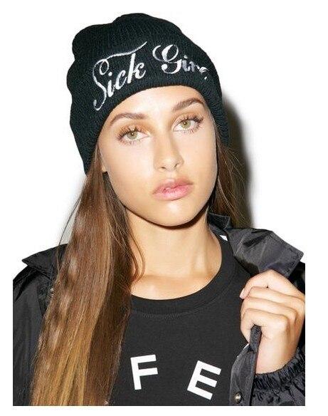 Sick Girl Letter Embroidery Women Beanie Cap Hat Winter Autumn Fall Beanie Hip-Hop Hat Sport Beanie Cap Femal Knitted hats Men
