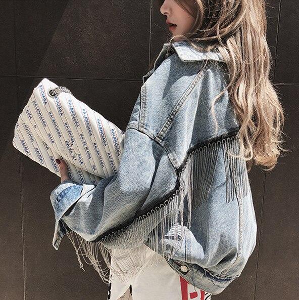 HAMALIEL Women Denim Long Batwing Sleeve Jacket Spring Beading Tassle Short Loose Girl Jeans   Coats   Fashion Harajuku Outerwear