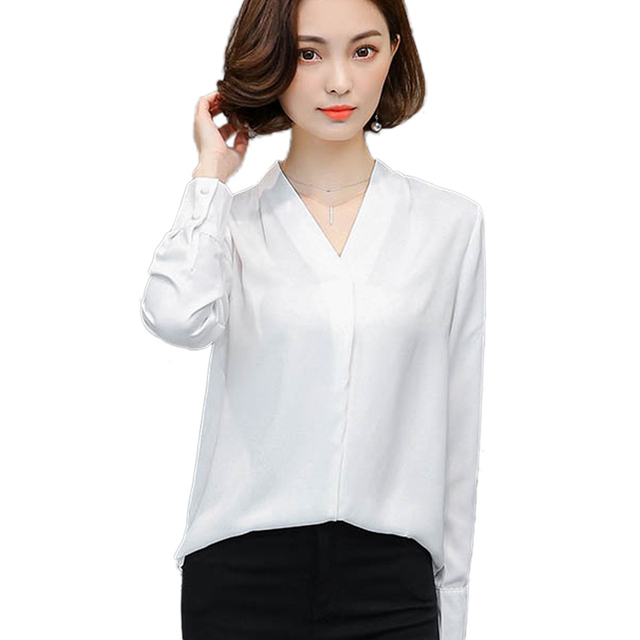 c5e6acea1a214 Elegante Blusa Blanca Mujeres del Otoño OL Camisa Casual Cuello En V Manga  Larga Blusas Mujer