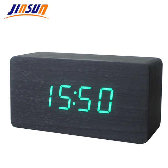 JINSUN Alarm Clocks Wood Bamboo LED Thermometer Digital Voice Table Clock Big Numbers Digital Clock KSW103