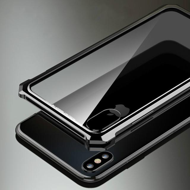 iPhone X XS XR XS Max Luxury Aluminum Metal Bumper Hybrid Armor Back Case Cover