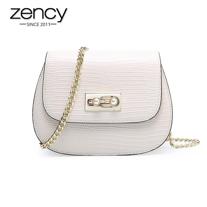 Zency Summer Beige Women Crossbody Bag 100 Genuine Leather Handbag Chain Strap Fashion Lady Shoulder Purse