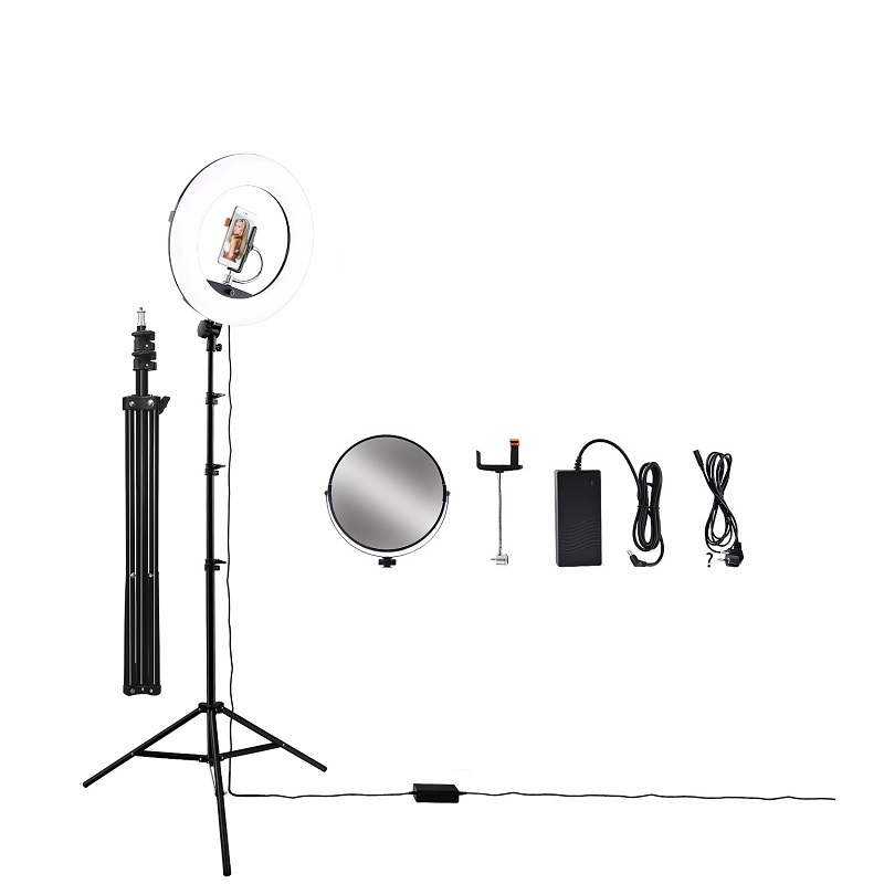 Camera Studio Phone Video 96W 480pcs LED Ring Light Photography Dimmable Makeup Ring Lamp With 200CM Tripod LCD Screen Mirror in Photographic Lighting from Consumer Electronics