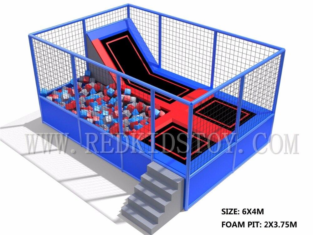 Exporté au chili Trampoline intérieur 6x4 m avec fosse en mousse 3.75x2 m LG-HZ016b