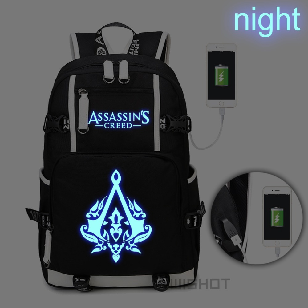 WISHOT Assassins Creed Backpack Shoulder travel School Bag with USB Charging Port Laptop Lumious Bags