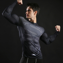 Superman Printed T-Shirts, Men Compression Top Fitness T-shirts, Novelty Slim Summer Tight Tee Superhero