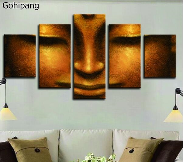 5 Pieces Canvas Abstract Printed Buddha Painting Face Wall Art Canvas Painting Buddha Head Decor Buddhism Picture Unframed