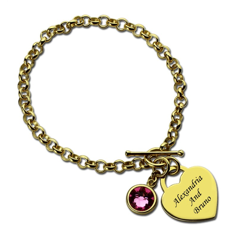 Custom Name Bracelet with Birth Stone Love Heart Charm Bracelets Customized Letter Name Pulsera Gold Jewelry for Lovers Women