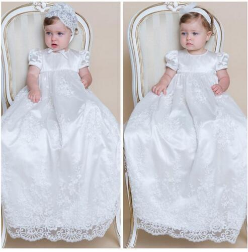 High Quality Custom Infant Girls Long Christening Gown With Bonnet Lace Baptism Dress Any Size cute infant lace long custom made baby girls newborn baptism rope christening dress blessing gown with bonnet