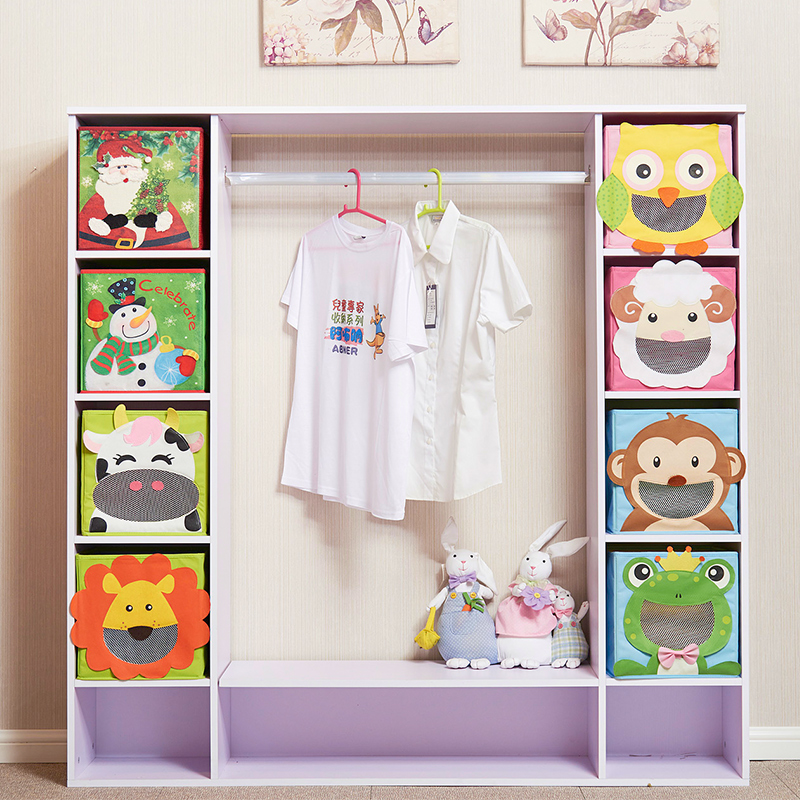 Cartoon Non-Woven Kid Toys Storage Bins Animal Embroidery Foldable Clothes Storage Box For Underwear Organizer Rangement