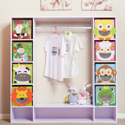 Cartoon Non-Woven kid Toys Storage bins Animal Embroidery Foldable Clothes Storage Box for Underwear organizer Rangement