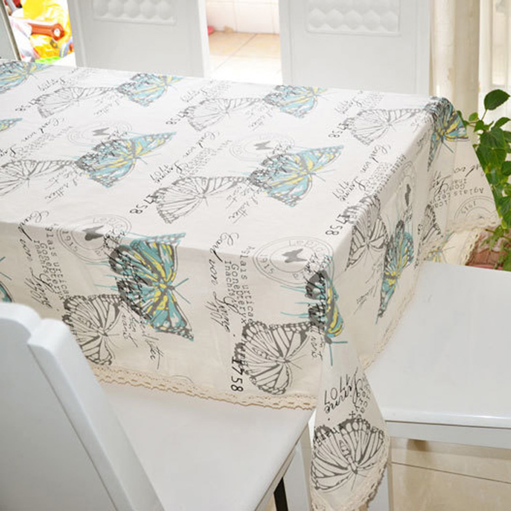 Pastoral Style Muliti size Butterfly Linen Table Cloth with Lace