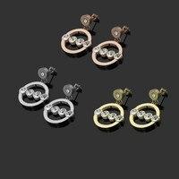 Yuvarlak Hollow Saplama Küpe Kadınlar için Titanyum Çelik Gümüş Gül Altın Renk Küpe 4 ile Kübik Zirkon Küpe Moda Takı