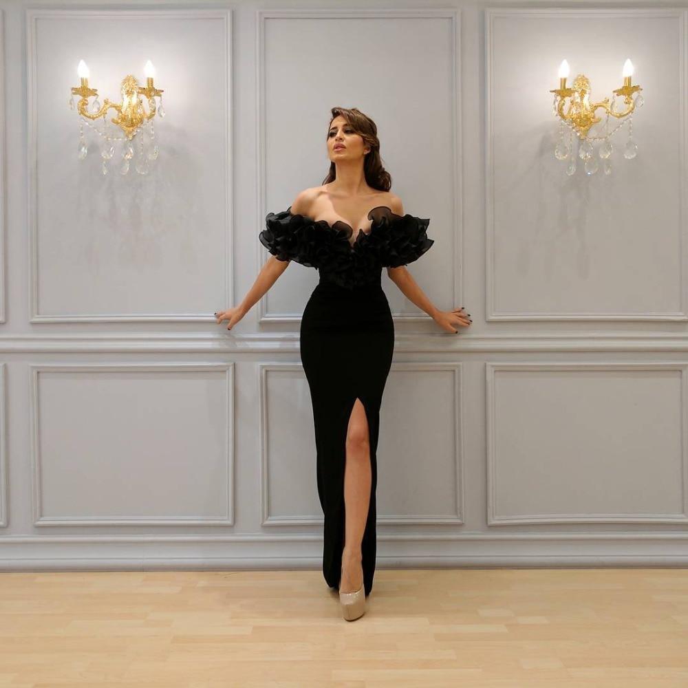 Black Muslim Evening Dresses Mermaid Cap Sleeves Organza Ruffles Slit Islamic Dubai Saudi Arabic Long Elegant Evening Gown