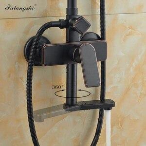 """Image 4 - Set doccia 8 """"In Bagno Soffione Doccia Rubinetto Nero Bronzo A Parete Girevole Beccuccio Rubinetto della Vasca Da Bagno con Doccia A Mano WB1801"""