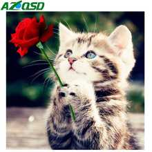 AZQSD Diamond Painting Flowers Cat  Handmade Mosaic Animal Picture Of Rhinestones 5d Diy Embroidery Full Display