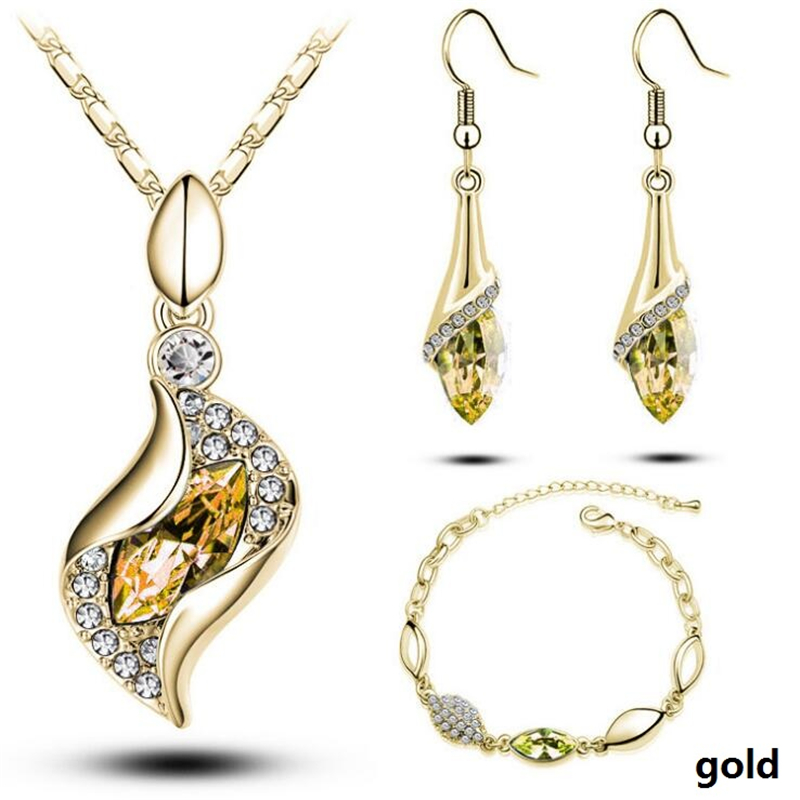 HTB1ytKaa3jN8KJjSZFkq6yboXXaI - Gold Silver Color Jewelry Sets Bridal Necklace Earrings Bracelet Wedding Crystal Sieraden Women Fashion Rhinestone Jewellery Set
