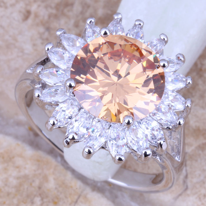 Superb Champagne Morganite White CZ Silver Stamped 925 Womens Ring Size 6 / 7 / 8 / 9 R0821