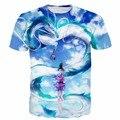 Новая Мода Аниме футболки Мужчины Женщины Hipster 3D т рубашка Классический Унесенные Призраками и Дракон Печати Пары Досуг Рубашки тройники