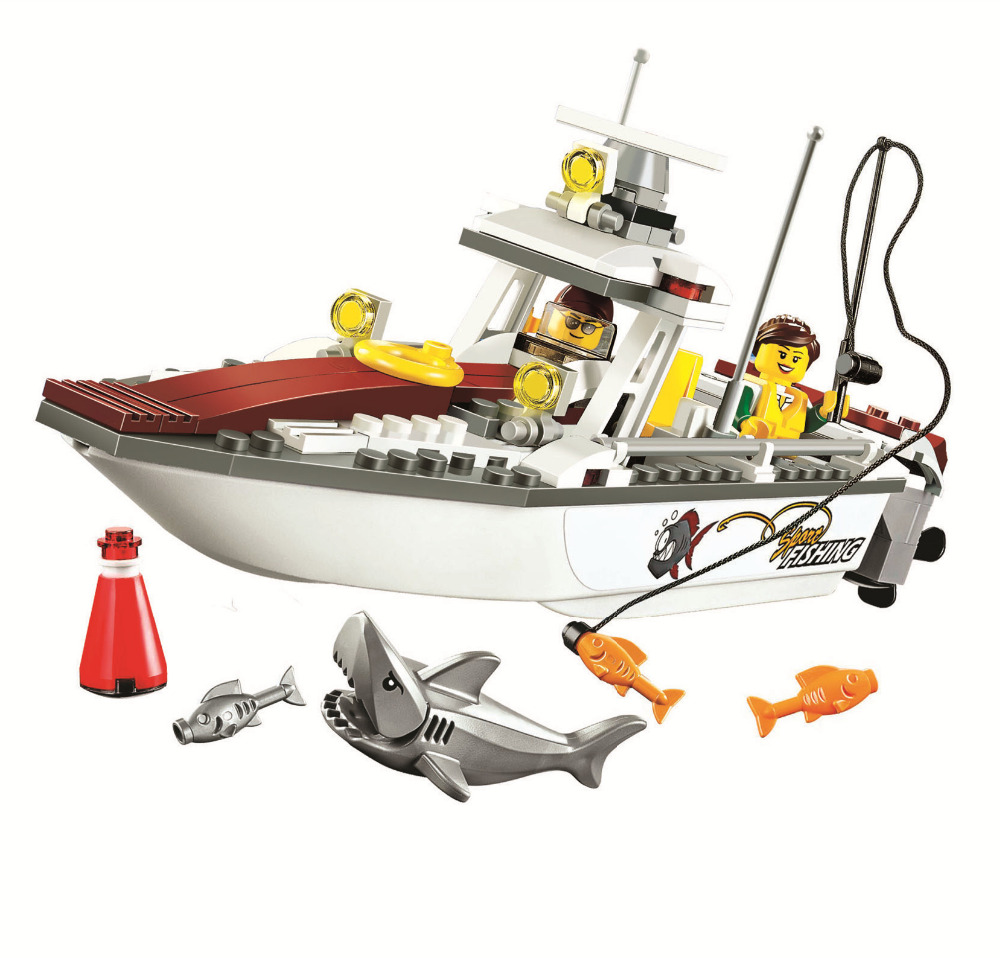 BELA City Fishing Boat Creative Play Toy Building Blocks Sets Bricks Classic Model Kids Toys Marvel Compatible Legoe lepin 1767 city town city square building blocks sets brick kid model kids toys for children marvel compatible bela diy gift toy
