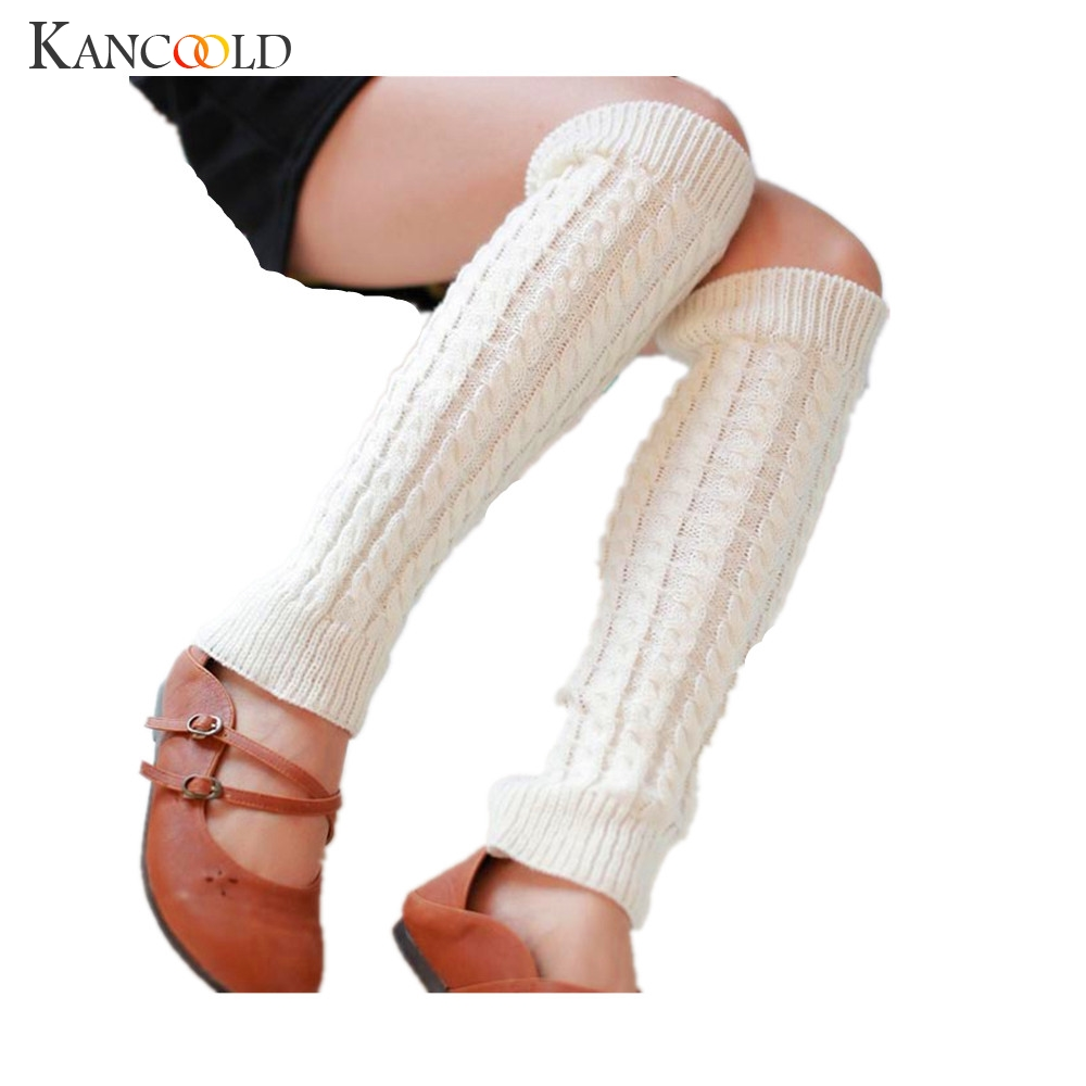Women Winter Warm Woolen Crochet Long Knitting Leg Socks Lady Stretch Fabric Leg Warmers Comfortable Boot Socks Nov9