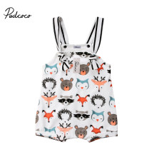 2018 Brand New lato maluch niemowlę noworodka dziewczynek chłopców Romper 0-24 M bez rękawów Cartoon zwierząt kombinezony Sunsuit playsuit(China)