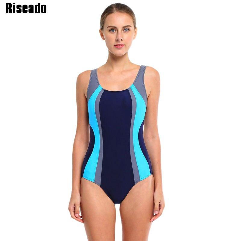 Riseado Sport One Piece Swimsuit 2019 Patchwork Swimwear Women Racer Back Swimsuits Swimming Bathing Suits Beachwear