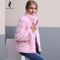NEW Office Lady Pink Small fur jacket mink fur coat Imported real fur coat Short baseball mink coats fashion real fur jacket