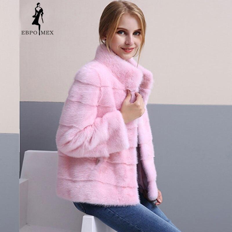 Nouveau bureau dame rose petite fourrure veste vison fourrure manteau importé réel fourrure manteau court baseball vison manteaux mode vraie fourrure veste
