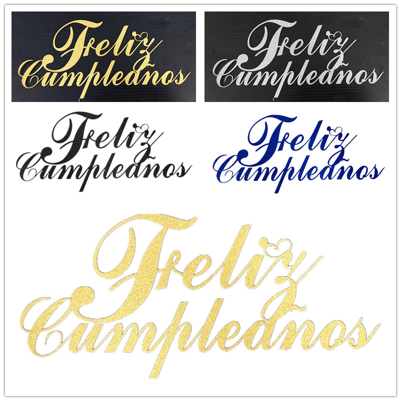 DIY Feliz Cumpleanos Spainish Happy Birthday Cake Flag Topper Doble Stick Para Fiesta de Cumpleaños Pastel Hornear Decoración 20x11 CM